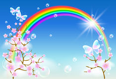 Flor e arco-íris de Sakura ilustração royalty free