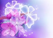 Flor e borboletas de Sakura Fotografia de Stock