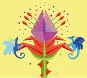 Flor e dragões fantásticos. Fotografia de Stock