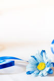 Flor e fita de seda azuis Fotografia de Stock Royalty Free