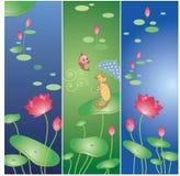 Flor e gato de Lotus Foto de Stock Royalty Free