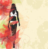 Flor e menina abstratas ilustração royalty free