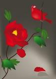 Flor e pássaro vermelhos Imagens de Stock Royalty Free