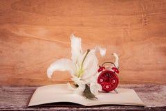 Flor e relógio de Lilly no livro de nota Fotos de Stock