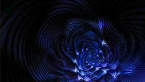 Flor elegante azul de la fantasía en fondo negro ilustración del vector