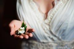 Flor em botão branco na palma da noiva Fotografia de Stock Royalty Free
