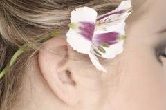 Flor em seu cabelo Fotos de Stock Royalty Free