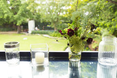 Flor en el tarro de cristal con el fondo del bokeh Fotos de archivo