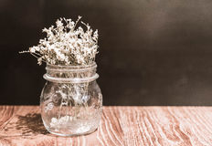 flor en la decoración del florero en la tabla dinning Imagen de archivo libre de regalías