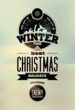 Flor en la nieve Diseño retro tipográfico de la Navidad del vector Fotos de archivo libres de regalías