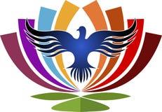 Flor en logotipo de los pájaros ilustración del vector