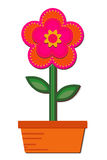 Flor en un crisol ilustración del vector
