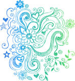 Flor esboçado do Doodle e ilustração dos redemoinhos ilustração stock