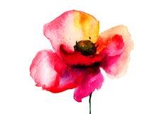 Flor estilizada de la amapola Imagen de archivo libre de regalías