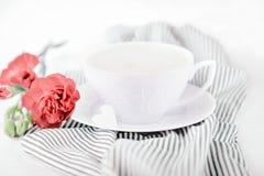 Flor excelente branca do cravo do cappuccino da xícara de café e da cor da terracota em um fundo listrado fotos de stock royalty free