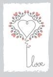 Flor floral de Art Heart Shape Love Sign e ornamento da folha Fotografia de Stock Royalty Free