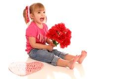 Flor girl2 de la tarjeta del día de San Valentín foto de archivo