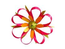 Flor hecha a mano de hojas de palma Fotografía de archivo libre de regalías