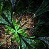 Flor hermosa del fractal en verde y beige. Generado por ordenador Fotos de archivo libres de regalías