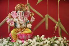 Flor hindu do jasmim de Ganesha do deus fotografia de stock