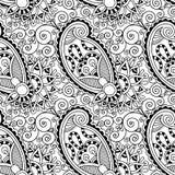 Flor inconsútil adornada blanco y negro Paisley Imagen de archivo