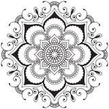 Flor indiana da hena da mandala de Mehndi no estilo indiano para o tatoo e o cartão Fotografia de Stock Royalty Free