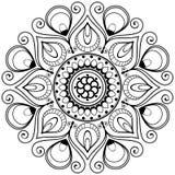 Flor indiana da mandala da hena de Mehndi para o tatoo ou o cartão Fotografia de Stock Royalty Free