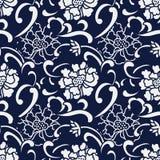 Flor japonesa azul inconsútil de la peonía de la curva del espiral del fondo Fotos de archivo libres de regalías