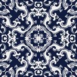 Flor japonesa azul sem emenda da cruz da onda da espiral do fundo Fotografia de Stock Royalty Free