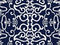 Flor japonesa azul sem emenda do quadro da espiral da cruz do fundo Foto de Stock