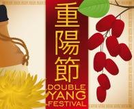 Flor, licor e corniso do crisântemo para Yang Festival dobro, ilustração do vetor ilustração stock