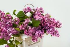 Flor lilás da mola, lanterna velha e escultura do anjo Imagem de Stock