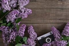 Flor lilás no fundo de madeira rústico com espaço vazio para a mensagem de cumprimento Câmera velha Vista superior Imagem de Stock