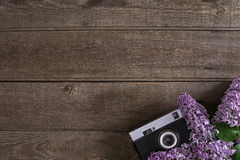 Flor lilás no fundo de madeira rústico com espaço vazio para a mensagem de cumprimento Câmera velha Vista superior Fotos de Stock