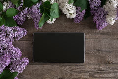 Flor lilás no fundo de madeira rústico, tabuleta com espaço vazio para a mensagem de cumprimento Vista superior Imagem de Stock