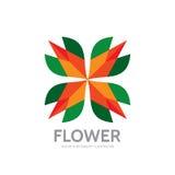 Flor - molde abstrato do logotipo do vetor - sinal do conceito Quatro formas coloridas Sinal geométrico da cor Símbolo da estrela Imagens de Stock