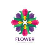 Flor - molde abstrato do logotipo do vetor - sinal do conceito Quatro formas coloridas Sinal geométrico da cor Símbolo da estrela Fotos de Stock Royalty Free