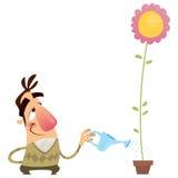 Flor molhando do jardineiro feliz do homem dos desenhos animados esse crescimento rapidamente Foto de Stock Royalty Free