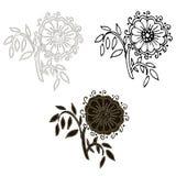 Flor monocromática del garabato, negra en blanco Fotos de archivo libres de regalías