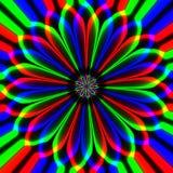 Flor multicolora hipnótica abstracta sicopática en fondo negro ilustración del vector