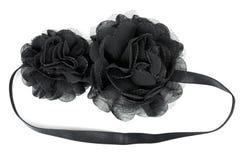 Flor negra de la tela con los cristales Fotos de archivo libres de regalías