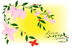Flor no cartão da mola Ilustração do vetor Fotos de Stock