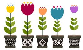 Flor no potenciômetro ilustração stock