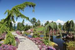 Flor og Fjaere. A beautiful summer garden on an island near Stavanger, Norway stock photos