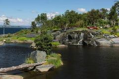 The gardens at Flor og Fjaere. Flor og Fjaere a beautiful summer garden on an island near Stavanger, Norway stock photography