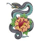 Flor oriental da serpente e da peônia Fotos de Stock Royalty Free