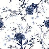 Flor oriental del jardín del verano del vector inconsútil azul monótono del modelo con la floración botánica y el diseño floral d libre illustration