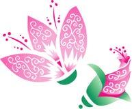 Flor oriental rosada con el brote ilustración del vector