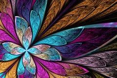 Flor ou borboleta bonita do fractal no st da janela de vitral ilustração stock