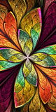 Flor ou borboleta bonita do fractal no st da janela de vitral Fotos de Stock Royalty Free